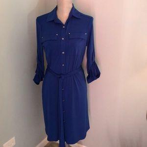 NWOT Calvin Klein Dress Cobalt Blue Silver Buttons